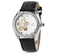 Frauen automatische Selbstwind hohle Blume Dial Lederband Armbanduhr (farbig sortiert)
