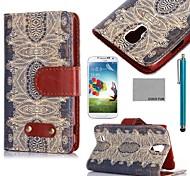 estampado de flores funda de piel de coco Fun® retro marrón de la PU con el protector de pantalla y el lápiz para i9500 Samsung Galaxy S4