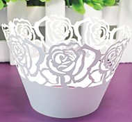 12pcs Laser Cut Rose Paper Cupcake Wrapper Baking Cake Cups Wraps Wedding Birthday Baby Shower Party Decorations