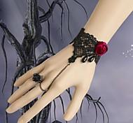 Lureme Vintage Style Red Rose Black Lace Bracelet