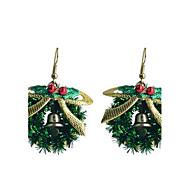 Lureme Fashion Baking Varnish Bowknot Christmas Ring Alloy Drop Earrings