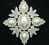 Bridal Wedding Clear Rhinestone Imitation Pearl Brooch Broach Pin for Party
