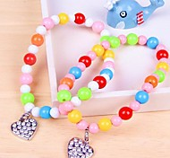 Colourful Bead Necklace with Heart Pendant for Pet Dogs