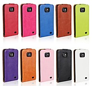 Flip-Open Horse Grain PU Leather Full Body Case for Samsung I9100  (Assorted Colors)