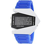 Men's Aircraft Style LCD Digital Silicone Band Water Resistant Wrist Watch (Assorted Colors)
