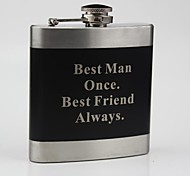 Personalized Stainless Steel  Black  Flask 6-oz