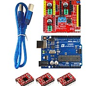 Funduino 3D0072 FR4 Expansion Board + 3-Stepper Motor Drives + Funduino-UNO R3 Board Kit for Arduino