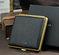 Personalized Grid Cigarette Pure Copper Ultra-Thin Magnet Stick Leather Gold Attenuated Cigarette Case (20)
