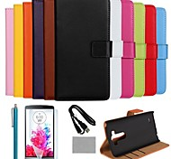 COCO FUN® Luxury Ultra Slim Solid Color Genuine Leather Case with Film,Cable and Stylus for LG G3(Assorted Colors)