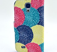 Red Yellow Green Flowers Pattern PU Leather with Case and Card Slot for Samsung S4 I9500