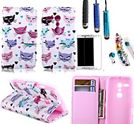 Colored Cat Face PU Leather with Card Holder with Stylus, Protective Film and Diamond Dust Plug for Motorola Moto G