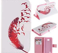Beautiful Red Feather Design PU Leather Full Body Case with Stand and Card Slot for LG L80