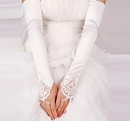 satinato senza dita opera lunghezza guanti da sposa con pizzo (più colori)