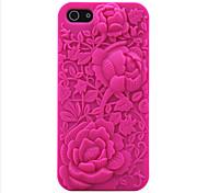 3d rose sculpture modèle silicium boîtier en caoutchouc pour iphone5 / 5s (couleurs assorties)