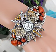 Women's Owl-Shaped Diamante Alloy Band Bracelet Watch (1Pc)