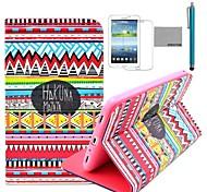 Coco Fun® patrón alfombra roja tribal del caso del soporte del tirón del cuero de la PU con el cine y lápiz para Samsung Galaxy Tab P3200 3 T210