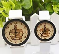 Runde Sache Retro Kronenmuster Paares Wahl pu-Band Quarz-Mode Uhr (verschiedene Farben)
