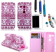 Pink Elephant PU Leather with Card Holder with Stylus, Protective Film and Diamond Dust Plug for Motorola Moto G