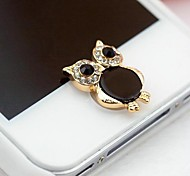 1Pcs Little Owl Diamond 1cm Buttons Stickers for iPhone and Others