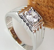 Korean Style Contracted Square Rhinestone Men's Ring