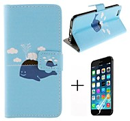 White Elephant and Black Dolphin Pattern PU Leather with Screen Protector Cover for iPhone 6