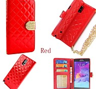 Fashion Squares Chain Design PU Leather Full Body Case with Card Slot for Samsung Galaxy Note 4 Case