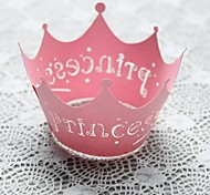 12pcs Pink Princess Crown Laser Cut Lace Cupcake Wrappers Muffin Cases Baby Shower Wedding Party Cake Decoartion