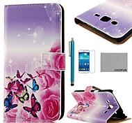 Coco Fun® rosa patrón de seda de la mariposa caja de cuero de la PU con el protector de pantalla y el lápiz para la galaxia magnífica 2 g7106