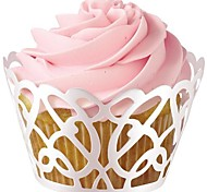 12pcs Filigree Laser Cut Lace Cupcake Wrappers Liners Muffin Cases Christening Baby Shower Wedding Party Cake Decoartion