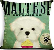 Мальтийский собака хлопок / лен декоративные подушки крышки
