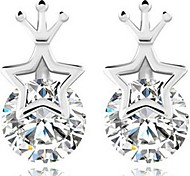 925 Sterling Silver Star Crown Stud Earrings