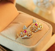 Lovely Crown Crystal Earrings