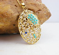 18K Gold Plated Turquoise/Pearl EllipsePendant