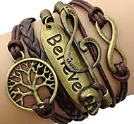 leather Charm BraceletsFashion Leather Multilayer Believe Wrap Bracelet inspirational bracelets