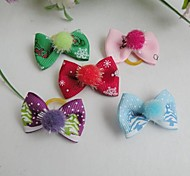 Christmas Series Lovely Plush Ball Decorated  Rubber Band Hair Bow for Pet Dogs Random Delivery