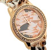 grain de léopard cadran rond bande de caoutchouc quartz montre de mode des femmes
