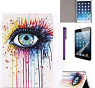 Graffiti Ink Eye Pattern PU Leather Case with Screen Protector and Stylus for iPad mini 3/2/1