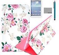 Coco fun® grande padrão de rosa caso estande pu tampa de couro com filme e stylus para samsung galaxy tab 4 T330