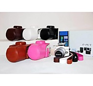 Pajiatu PU Leather Litchi Grain Camera Protective Case Bag Cover with Strap for Olympus PEN E-PL7 EPL7 17mm/14-42mm Lens
