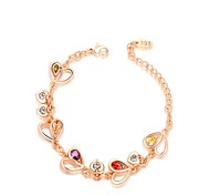 Noble 18K Rose Gold Plated Colourful Austria Crystal Simulated Diamond Heart Leaves Charm Bracelet
