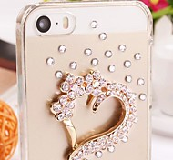 Rhinestone Diamond Love Heart Transparent Back Cover Case for iPhone 5/5S(Assorted Colors)
