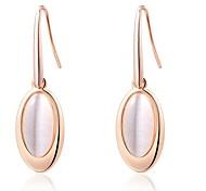 18k noble et simple rose / plaqué or blanc utilisation de bijoux brillant cristal opale pierre goutte d'eau boucles d'oreilles