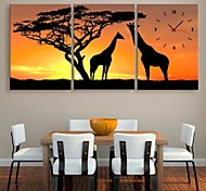 E-HOME® The Giraffe And The Tree Clock in Canvas 3pcs