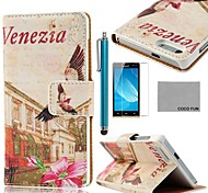 COCO FUN® Floral Venezia Pattern PU Leather Case with Screen Protector and Stylus for Huawei Ascend G6