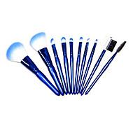 10pcs azul com um saco de nylon do cabelo maquiagem conjuntos de escovas de alta qualidade pérola