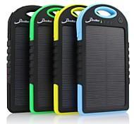 5000mAh portable chargeur de banque de l'énergie solaire avec connecteur de pomme (5v 1a) pour iPhone 6 et autres appareils mobiles