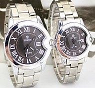 Couple's Round Dial Alloy Band Quartz Fashion Watch (Assorted Colors)