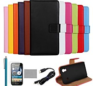 coco Fun® Ultra Slim Tasche aus echtem Leder mit Film, Kabel und Stylus für Samsung Galaxy Ace S5830 (farblich sortiert)
