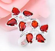 Classic Red Quartz Gemstone Silver Ring 1PC