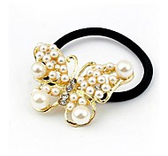 Exquisite Fashion Lady Pearl Butterfly Hair Ties